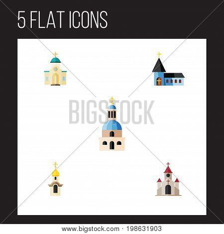 Flat Icon Building Set Of Structure, Traditional, Religious And Other Vector Objects