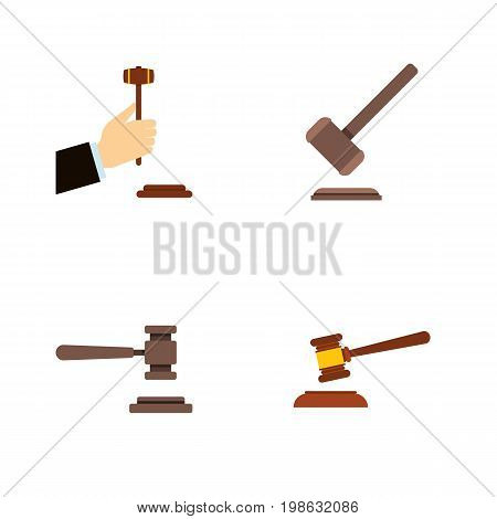 Flat Icon Court Set Of Tribunal, Law, Legal And Other Vector Objects