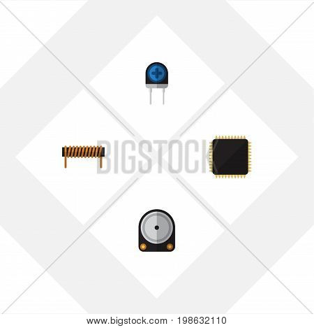 Flat Icon Technology Set Of Transducer, Bobbin, Cpu And Other Vector Objects