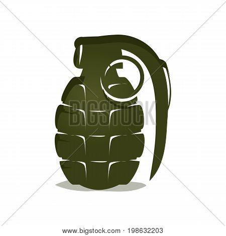 bold hand grenade illustration, isolated on white background.
