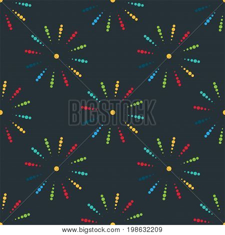 Firework different shapes vector illustration seamless pattern. Colorful festive bright collage design brochures poster, wrapping paper, greeting card. Salute anniversary celebration explode