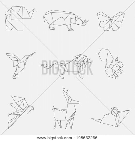 Vector illustration of line origami animals and birds