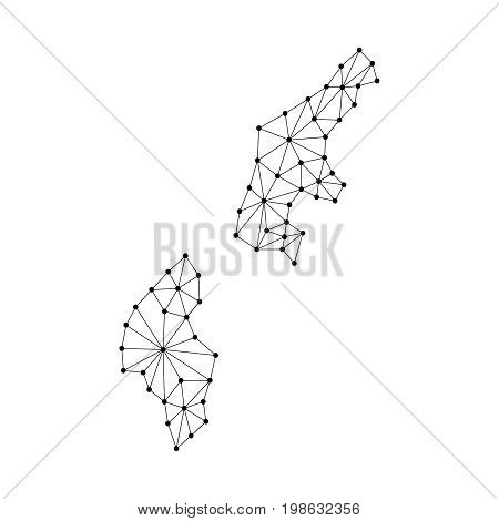 Northern Mariana Islands map of polygonal mosaic lines network rays and dots vector illustration.