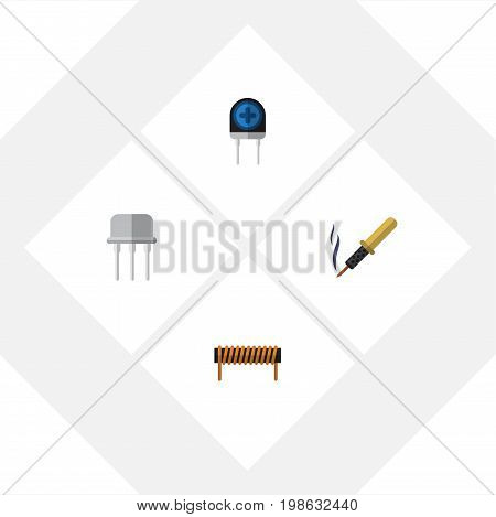 Flat Icon Technology Set Of Repair, Resist, Bobbin And Other Vector Objects
