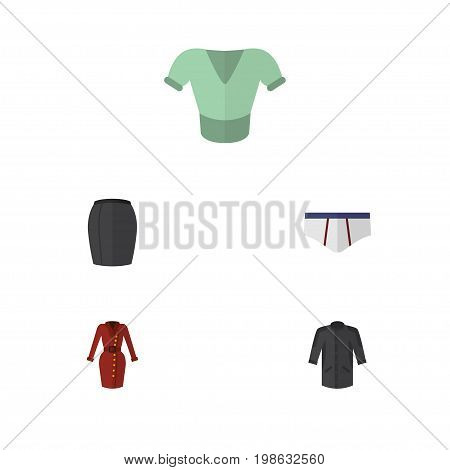 Flat Icon Garment Set Of Uniform, Casual, Underclothes And Other Vector Objects