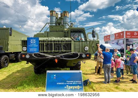 Moscow Region - July 21, 2017: Visitors examine the S-400 Triumf russian missile system at the International Aviation and Space Salon (MAKS).