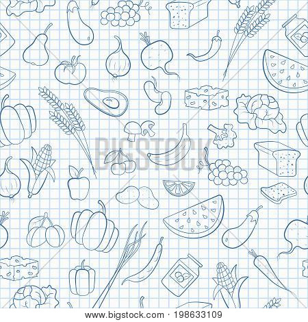 Seamless pattern on the theme of vegetarianism grocery icons simple blue contour icons on the clean writing-book sheet in a cage