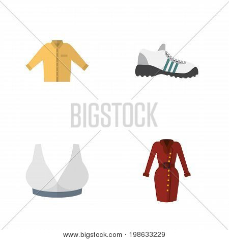 Flat Icon Garment Set Of Sneakers, Clothes, Banyan And Other Vector Objects