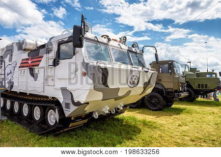 Moscow Region - July 21, 2017: The Tor-M2DT russian air defense missile system at the International Aviation and Space Salon (MAKS). The system is especially designed to be used for Arctic region.