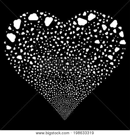 Cloud fireworks with heart shape. Vector illustration style is flat white iconic symbols on a black background. Object love heart created from scattered symbols.