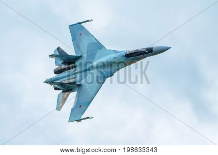 Moscow Region - July 21, 2017: Modern Russian strike fighter Sukhoi Su-35 at the International Aviation and Space Salon (MAKS) in Zhukovsky.