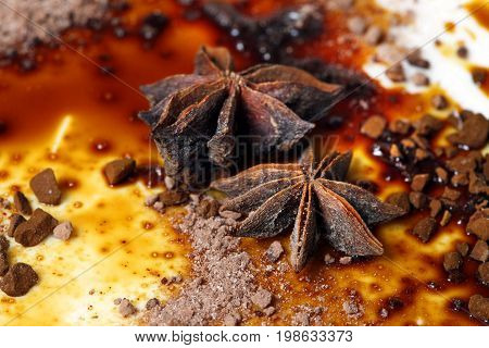 Asterisks anise on a plate with chocolate sauce