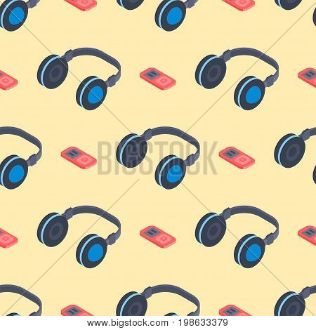 Headphones music sound stereo dj seamless pattern studio audio modern earphone background vector illustration. Portable digital funky headphone technology.