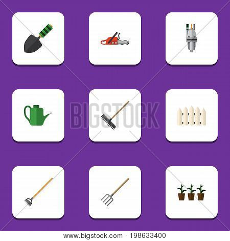 Flat Icon Garden Set Of Hacksaw, Hay Fork, Bailer And Other Vector Objects