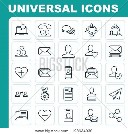 Communication Icons Set. Collection Of Note Page, Call, Teamwork And Other Elements