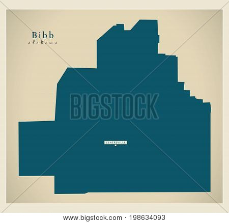 Modern Map - Bibb Alabama County Usa Illustration