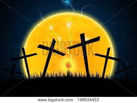 Halloween festival and celebration abstract background zombie hand emerge from grave soil with cross thunderbolt and moon vector illustration.
