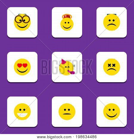 Flat Icon Expression Set Of Cross-Eyed Face, Angel, Joy And Other Vector Objects