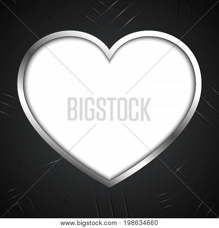 abstract love heart shape black old vintage metal plate with claw scratch texture background with copyspace vector illustration