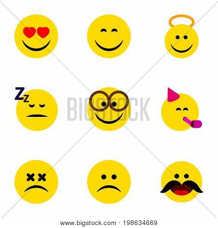 Flat Icon Face Set Of Smile, Love, Angel And Other Vector Objects