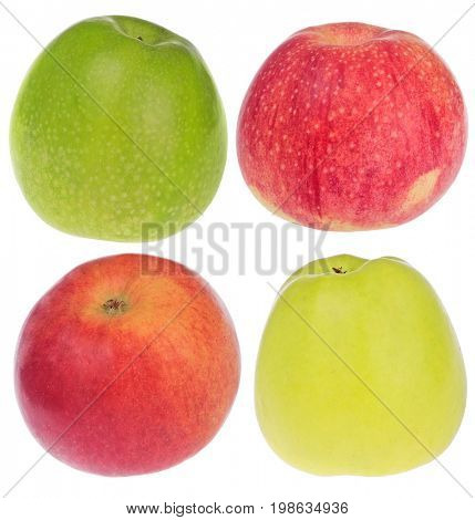 Fuji, Golden, Granny Smith and Idared apples isolated on white background