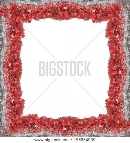 macro photo of red ruby druse frame isolated on white background