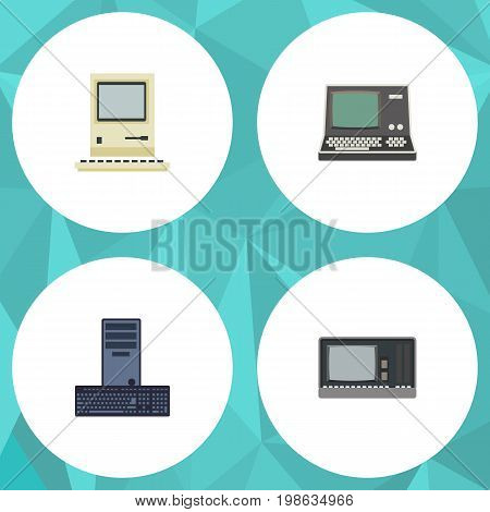 Flat Icon Laptop Set Of Processor, Vintage Hardware, Computing And Other Vector Objects