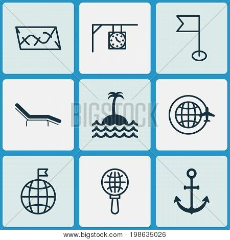 Tourism Icons Set. Collection Of Travel Direction, Ensign, Globe Search And Other Elements