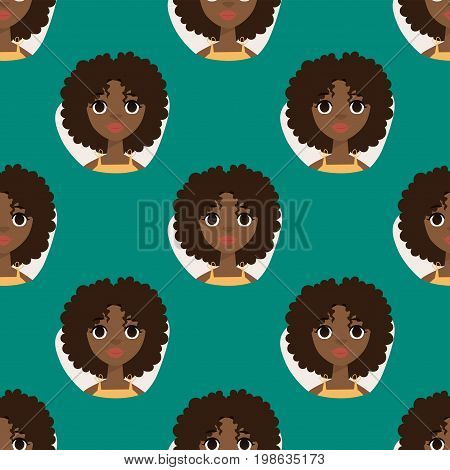 Seamless pattern diverse round avatars with facial features african woman nationalities people characters vector illustration. Cute cartoon style faces