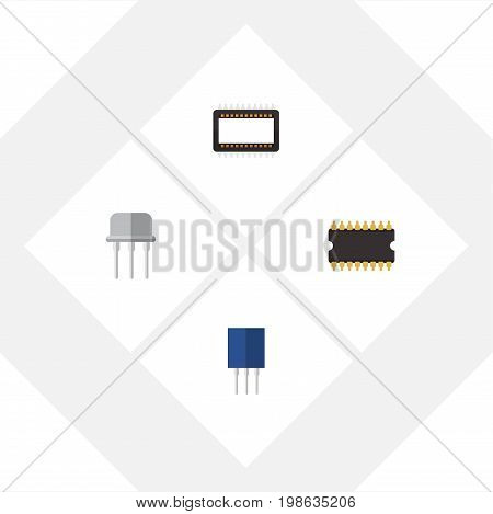 Flat Icon Appliance Set Of Receptacle, Mainframe, Microprocessor And Other Vector Objects