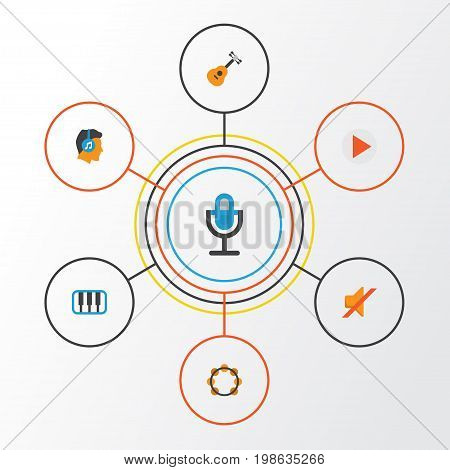 Audio Flat Icons Set. Collection Of Rhythm, Acoustic, Quiet And Other Elements