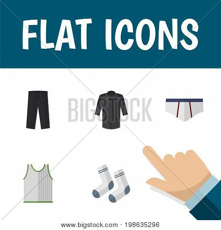 Flat Icon Clothes Set Of Uniform, Foot Textile, Underclothes And Other Vector Objects