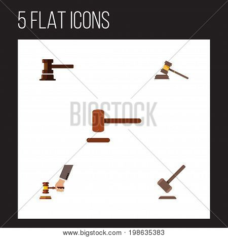 Flat Icon Lawyer Set Of Tribunal, Defense, Government Building And Other Vector Objects
