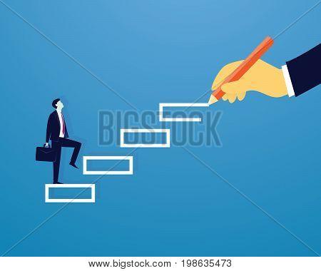 Vector illustration. Personal development concept. Future success. first step. Businessman start climbing stair for successful career achievement, development growth progress vision future