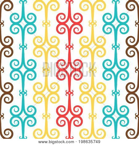 Spanish curl ornamental decorative ceramic tile vector design