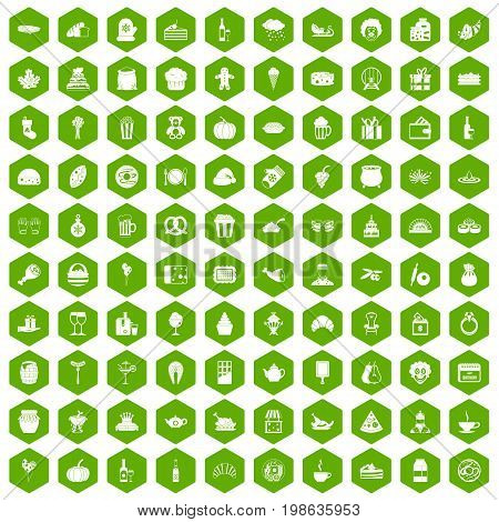 100 bounty icons set in green hexagon isolated vector illustration