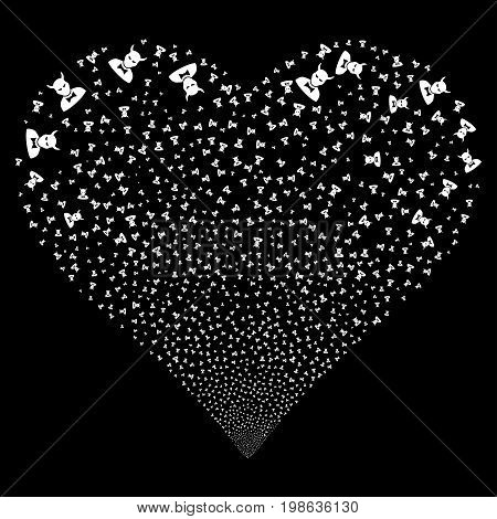 Devil fireworks with heart shape. Vector illustration style is flat white iconic symbols on a black background. Object valentine heart made from scattered pictographs.