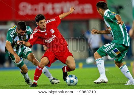 VIENNA,  AUSTRIA - JULY 19 Friendship game between SK Rapid and Liverpool FC: Striker Danny Pachello (#11, Liverpool) and his team lose 1:0 on July 19, 2009 in Vienna, Austria.