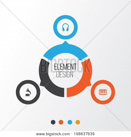 Multimedia Icons Set. Collection Of Phonograph, Octave, Earphone And Other Elements