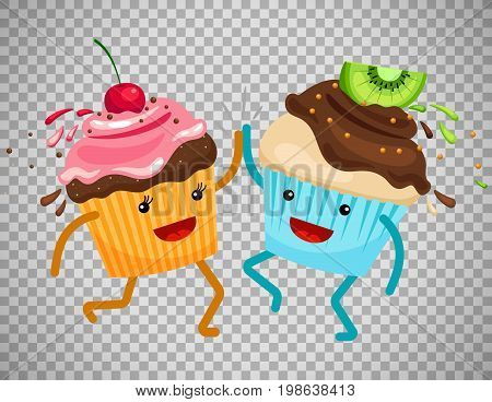 Cartoon muffins forever friends. Cupcakes clap hands vector illustration isolated on transparent background