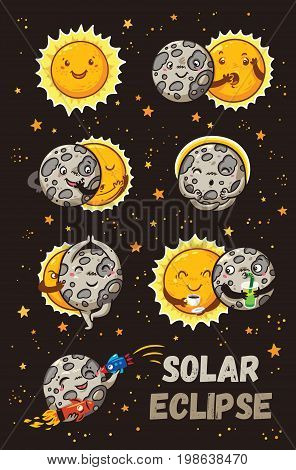 Solar Eclipse in phases. Cartoon moon does yoga when it completely covers the happy sun. Funny vector set