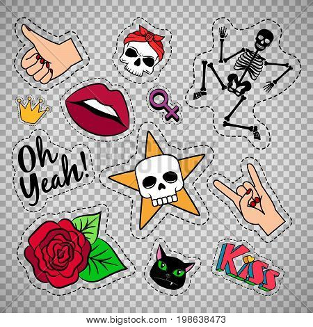 Colorful quirky funny patches with skeleton, rose, skull and lips isolated on transparent background. Vector stickers or badges set
