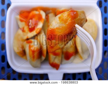 Chines Dumpling On A Fork