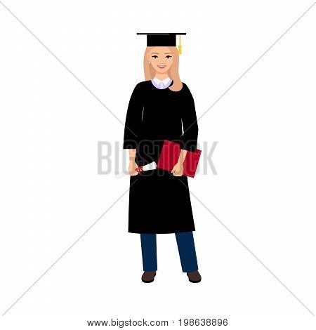 University female student graduate people isolated on white background. Female character with square academic cap and diploma in hands. Vector illustration