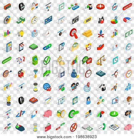 100 transaction icons set in isometric 3d style for any design vector illustration