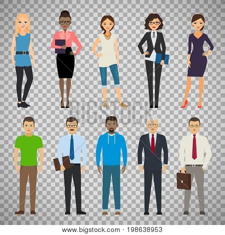 Business dressed and casual dressed people standing isolated on transparent background. Vector illustration