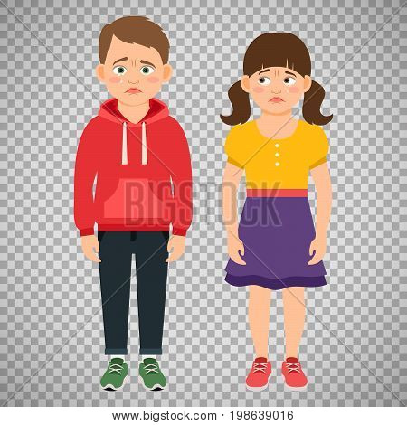 Crying kids characters vector illustration isolated on transparent background