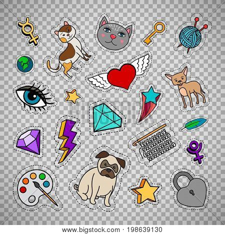 Quirky fashion patches set with animals, diamond, heart and key isolated on transparent background. Vector illustration