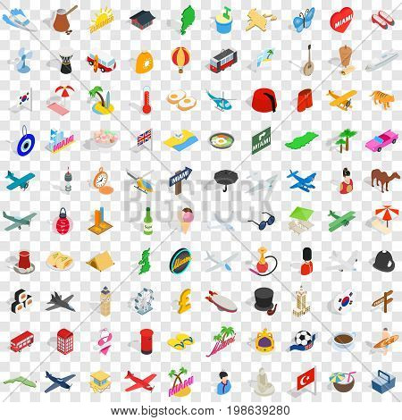 100 travel time icons set in isometric 3d style for any design vector illustration