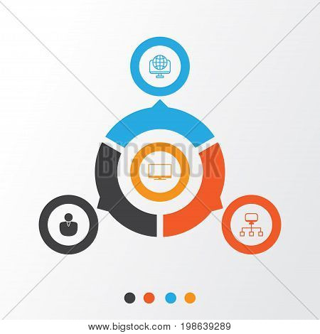 Internet Icons Set. Collection Of Display, Account, Local Connection And Other Elements